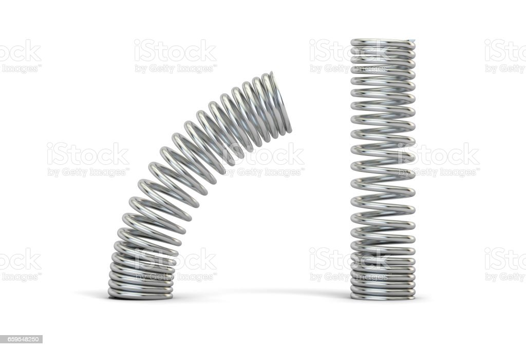 Steel helical coil springs, 3D rendering isolated on white background stock photo
