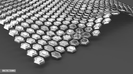 537763543 istock photo Steel hexagons in wave form levitating above grey surface. Abstract background 992823980