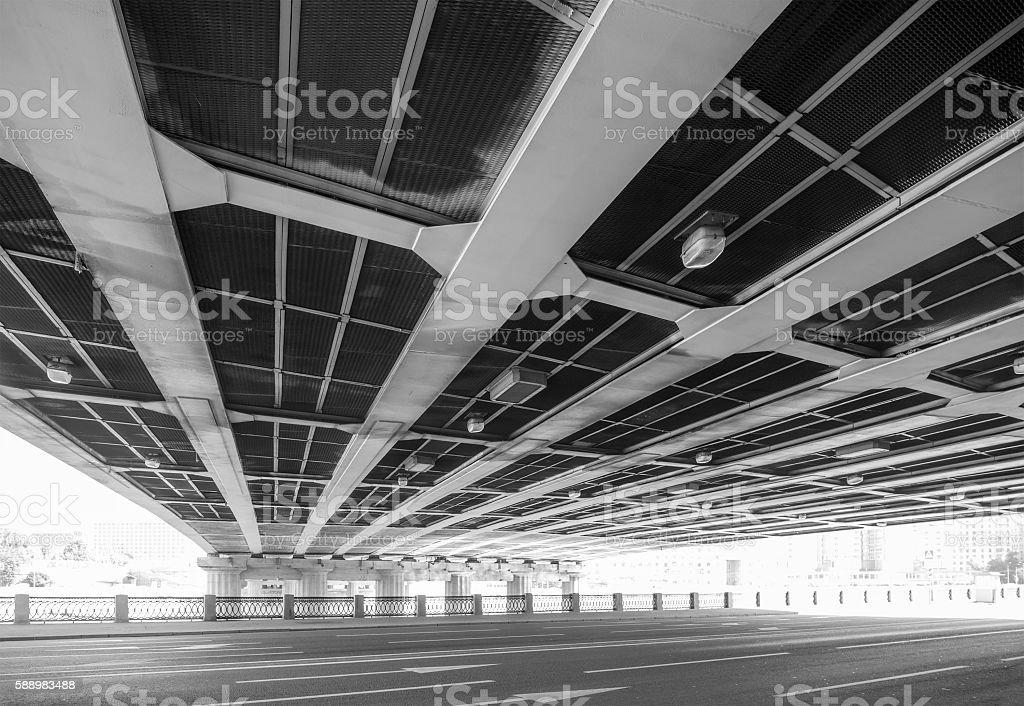 Steel highway bridge stock photo