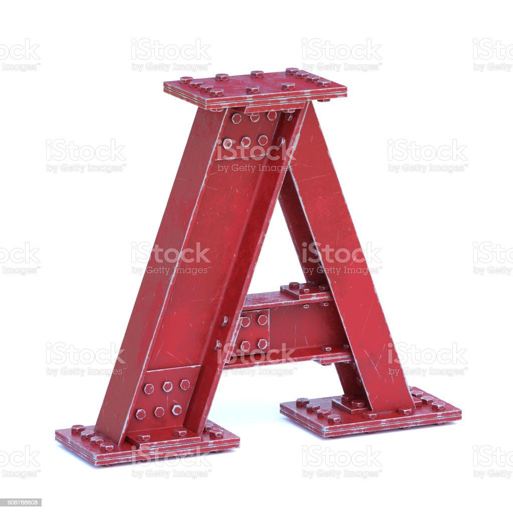 Çelik yazı tipi 3d render harf A kiriş stok fotoğrafı