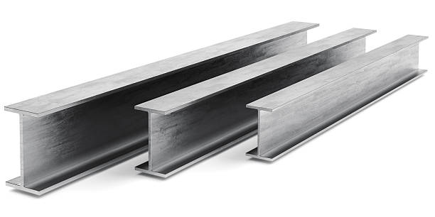 Steel I-beam Steel I-beam. Flange beam on a white background. 3D rendering girder stock pictures, royalty-free photos & images