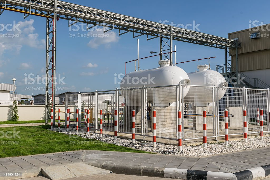 Steel Industrial gas tank for storage of LPG stock photo