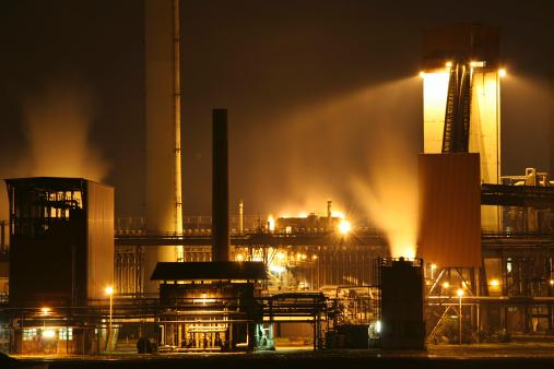 Nightshot of a steel factory
