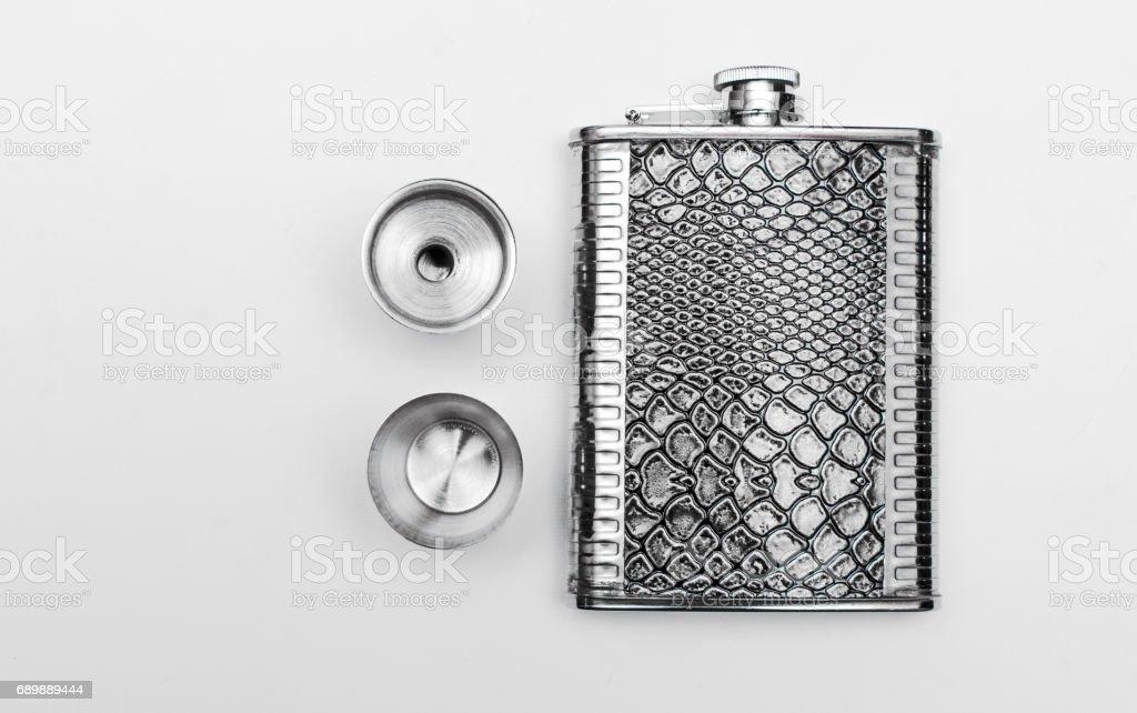 Steel isolated flask stock photo