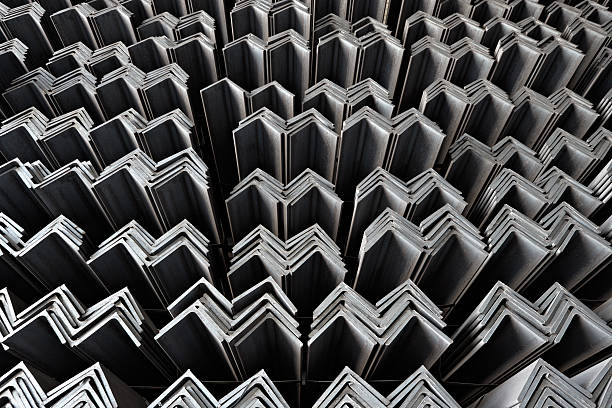 Steel jagged lines all in a row stock photo