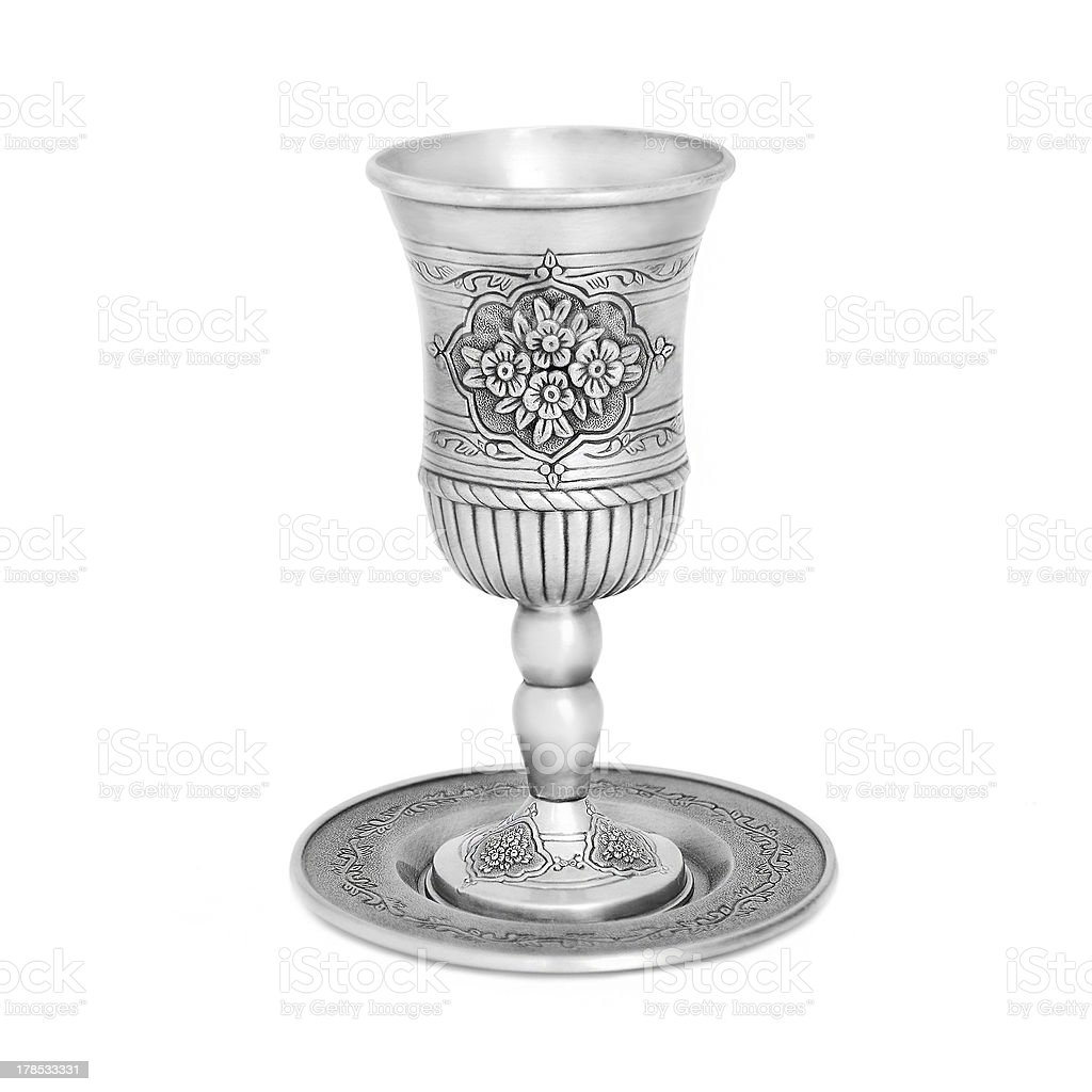 Steel jewish cup isolated stock photo