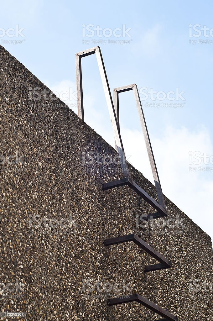 Steel ladder in wall. royalty-free stock photo