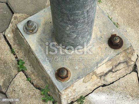 istock steel lamp pole on concrete 685949746