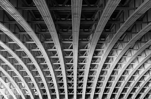 Steel lines under a bridge in London