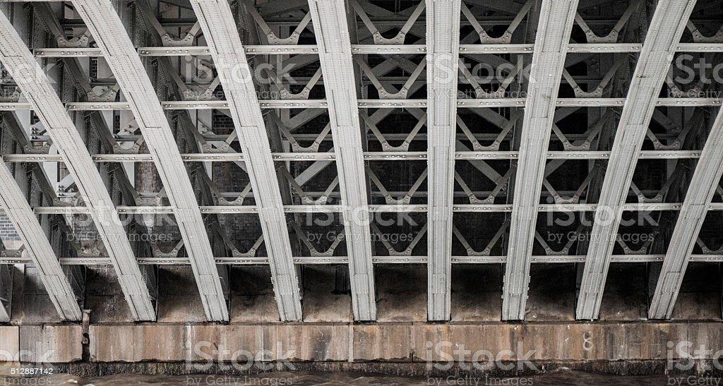 Steel lines under Blackfriars Bridge (London UK) stock photo