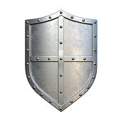 Steel medieval shield, metallic shield, isolated on white background, 3d rendering