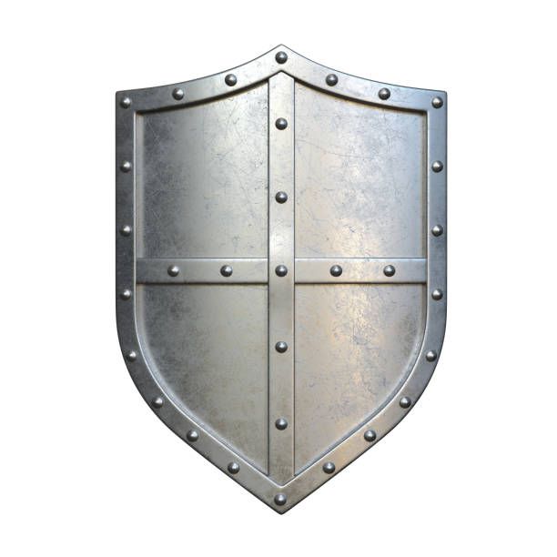 steel medieval shield, metallic shield, isolated on white background, 3d rendering - indumento corazzato foto e immagini stock