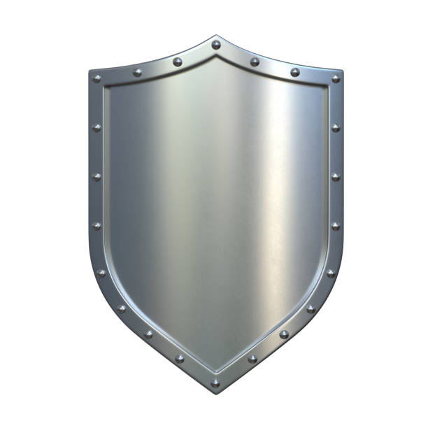 Steel medieval shield, metallic shield, isolated on white background Steel medieval shield, metallic shield, isolated on white background, 3d rendering shielding stock pictures, royalty-free photos & images