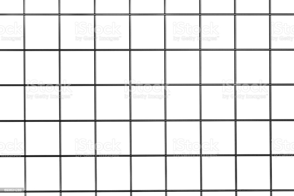 Steel metal grid isolated on white