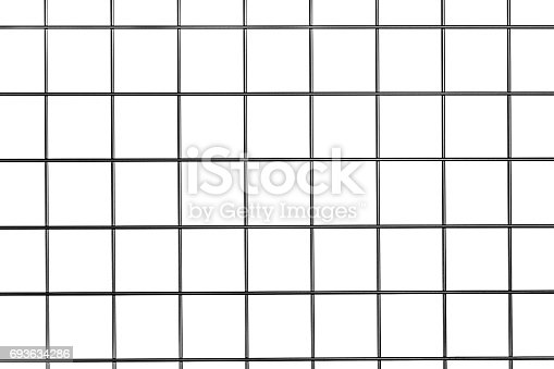 Steel metal grid isolated on white.