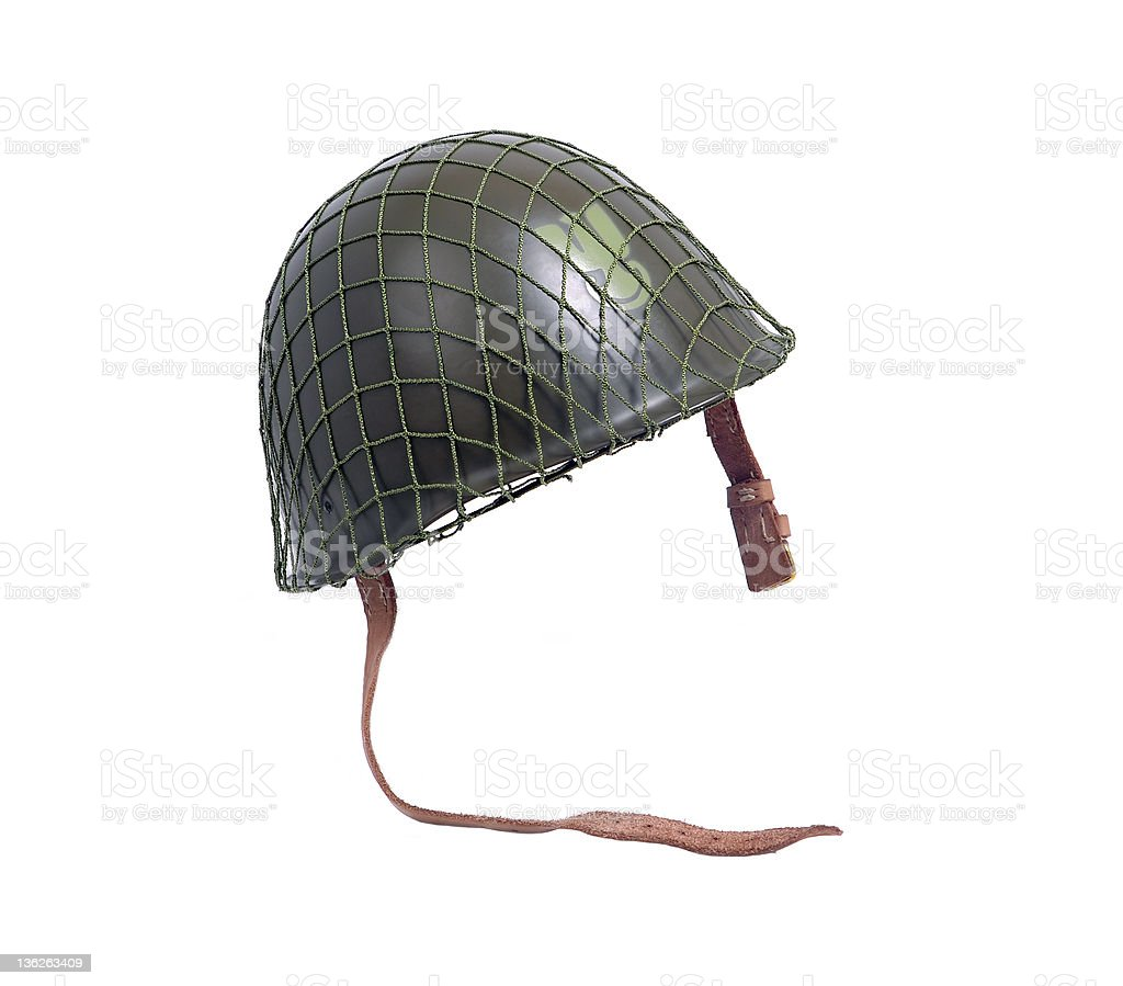 steel military helmet stock photo