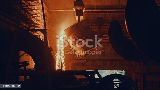 Steel mill factory - molten metal in vat