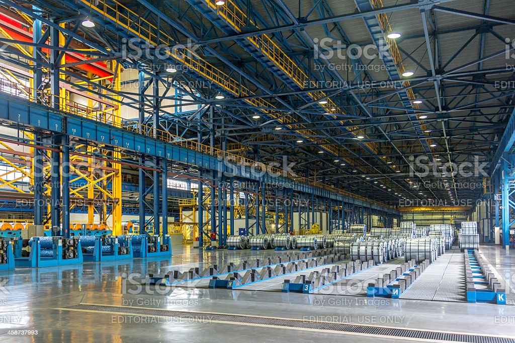 Steel Mill interior view stock photo