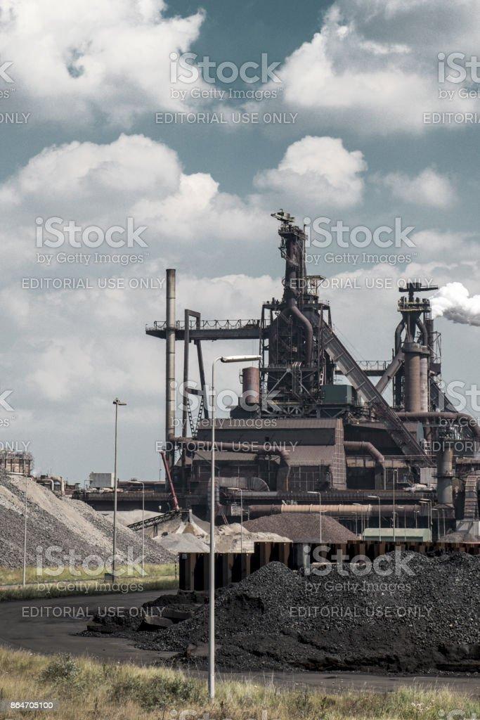Steel mill of Tata Steel Unlimited in IJmuiden, The Netherlands stock photo