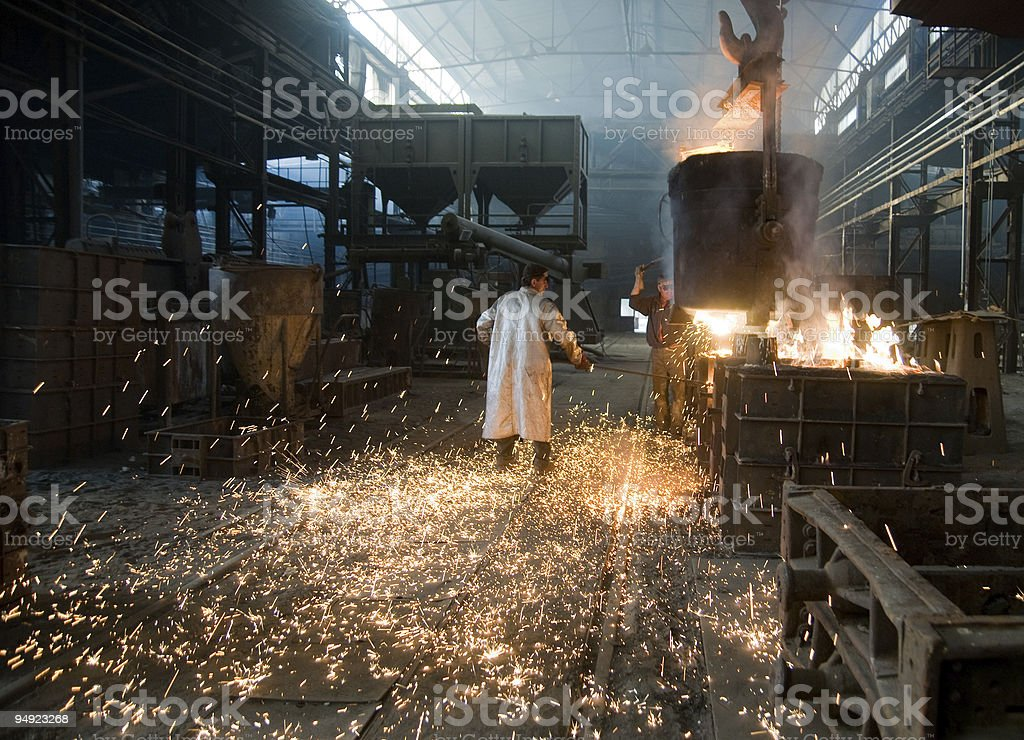 steel mill workers royalty-free stock photo