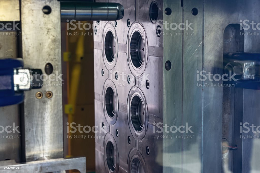 Steel mold. The main working part of the plastic injection molding machine stock photo