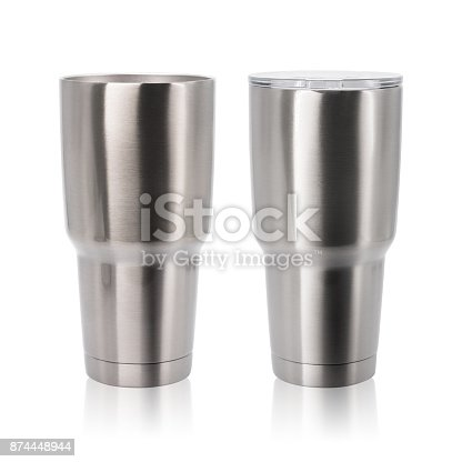istock Steel mug isolated on white background. Large water bottle for keeping temperature. Big stainless cup for your design. Clipping paths object. 874448944