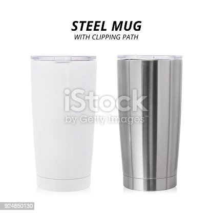 1129148925istockphoto Steel mug isolated on white background. Template of water container for design. ( Clipping path ) 924850130