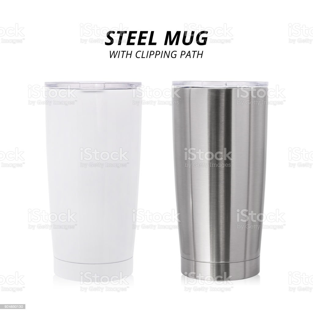 Steel mug isolated on white background. Template of water container for design. ( Clipping path ) - foto stock