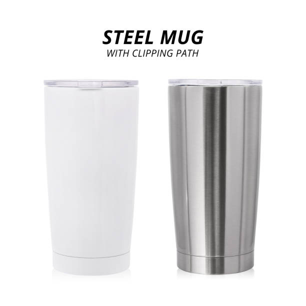 steel mug isolated on white background. template of water container for design. ( clipping path ) - flask stock photos and pictures