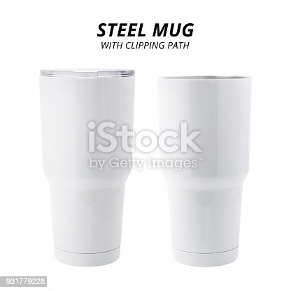 1129148925istockphoto Steel mug isolated on white background. Template of water container for design. ( Clipping path ) 931779228