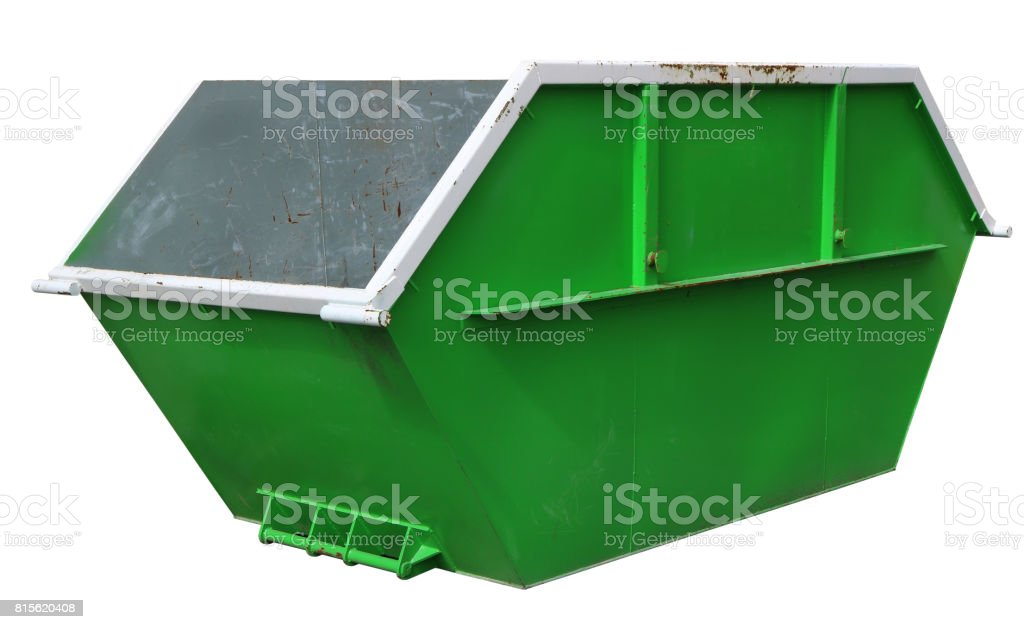 Steel new empty  green container for construction waste. stock photo