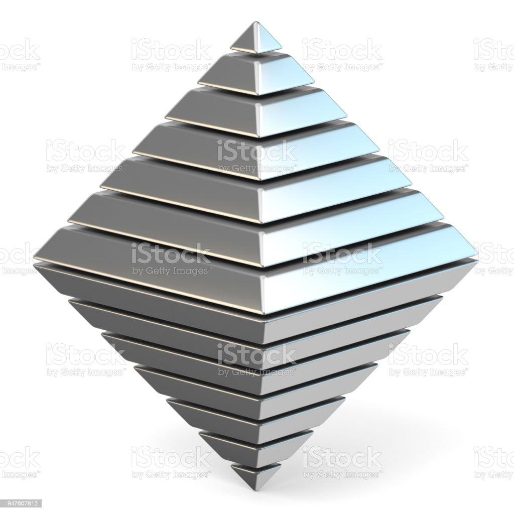 Steel octahedron 3D stock photo
