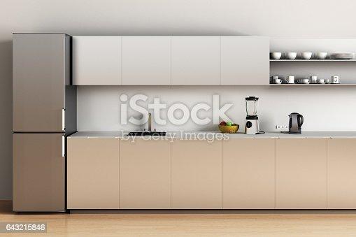 istock Steel office kitchen with wooden floor 643215846