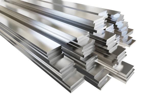 Steel or aluminum plates in warehouse. Clipping path included. Steel or aluminum plates in warehouse. Isolated on white background, clipping path included. 3d illustration. anode stock pictures, royalty-free photos & images