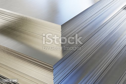 istock Steel or aluminum sheets in warehouse 1202781680