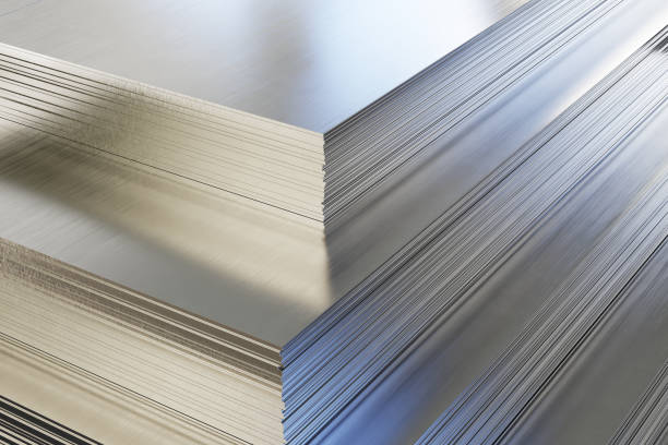Steel or aluminum sheets in warehouse Steel or aluminum sheets in warehouse, rolled metal product. 3d illustration. anode stock pictures, royalty-free photos & images
