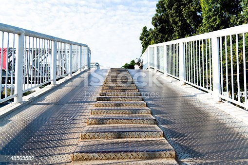 istock Steel overpass stairs in the city 1148563582