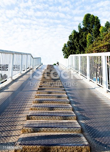 istock Steel overpass stairs in the city 1148564874