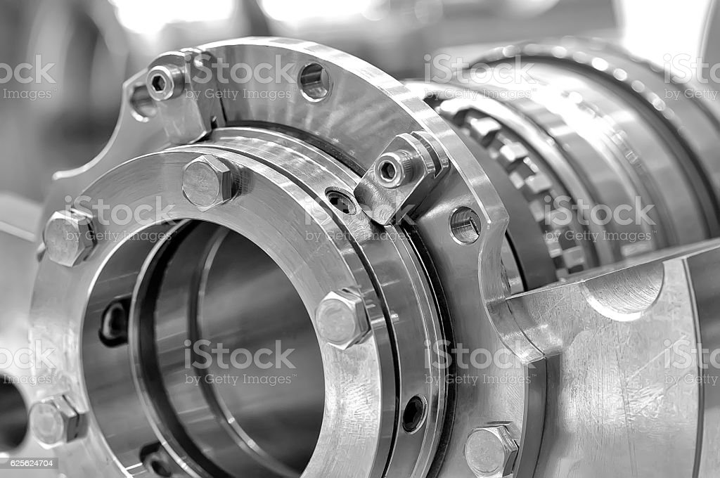 Steel parts for industrial machinery stock photo