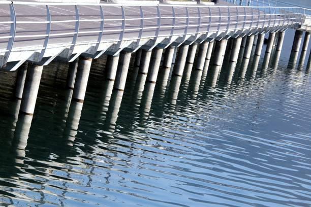 Steel pier architectural details stock photo