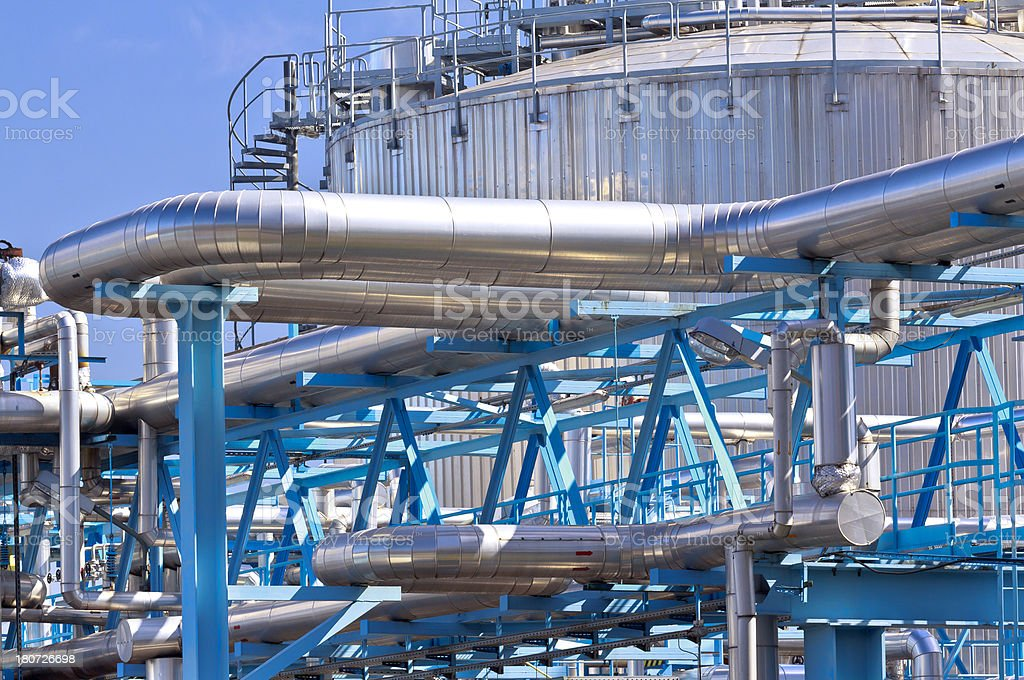 Steel pipelines in the Gas Refinery royalty-free stock photo