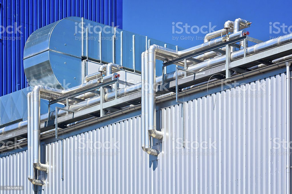 Steel pipelines in the Plant royalty-free stock photo