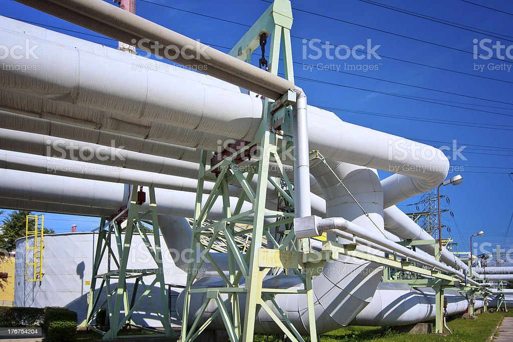 Steel pipelines in the Power station royalty-free stock photo