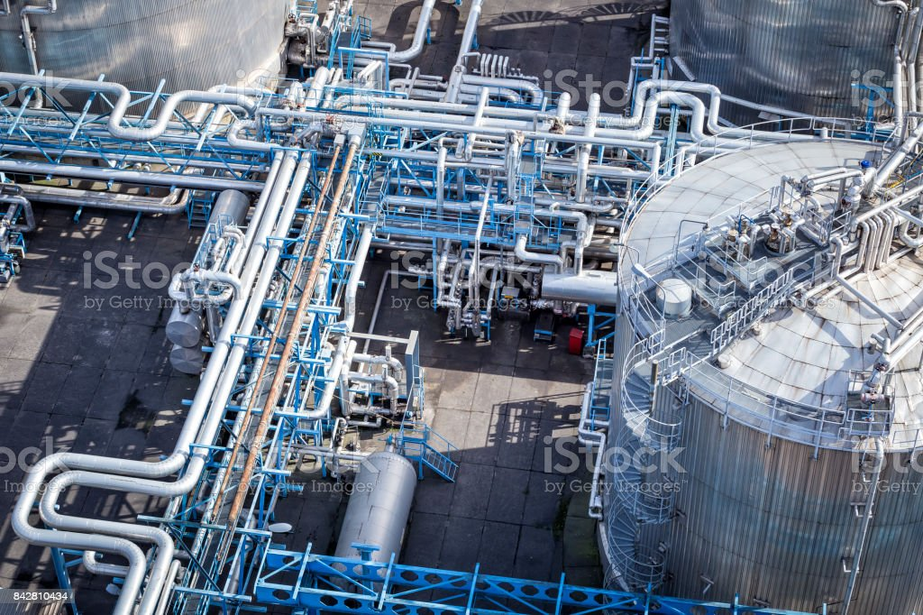 Steel pipelines in the Refinery stock photo