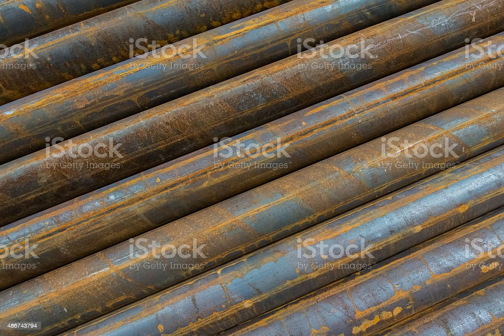 Steel pipes background image stock photo