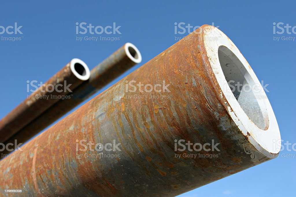 steel pipes blue sky royalty-free stock photo