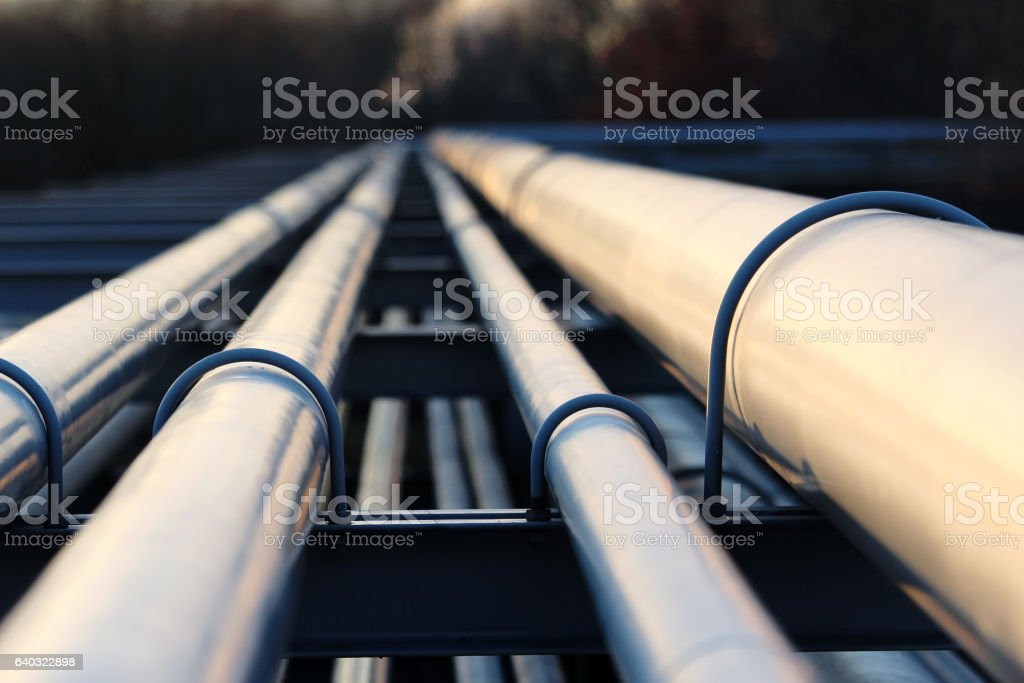 steel pipes in crude oil refinery stock photo