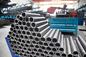 steel pipes in the factory
