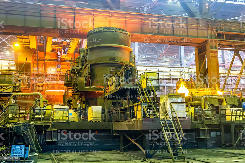 Steel making on ironworks. Melting furnaces for steel production at...