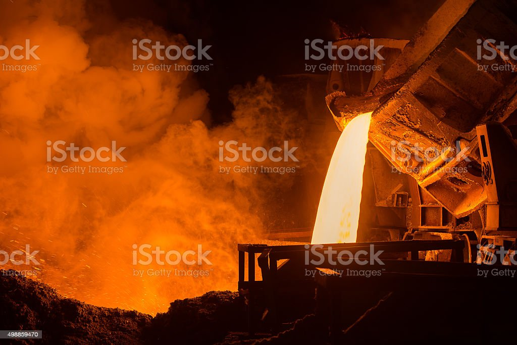 Steel plant very hot steel pouring in steel plant 2015 Stock Photo